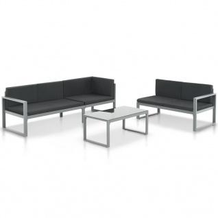 vidaXL Garten-Sofagarnitur 3-tlg. mit Kissen Aluminium Schwarz