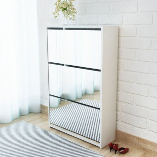 vidaXL Schuhschrank mit 3 Fächern Spiegel Weiß 63x17x102, 5 cm