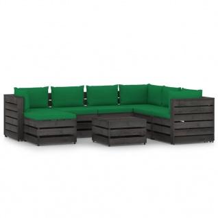 vidaXL 8-tlg. Garten-Lounge-Set mit Kissen Grau Imprägniertes Holz