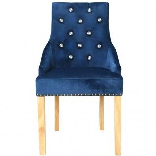 vidaXL Esszimmerstühle 2 Stk. Massive Eiche und Samt Blau - Vorschau 4