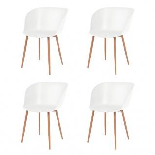 vidaXL Esszimmerstühle 4 Stk. Weiß Kunststoffsitz Stahlbeine