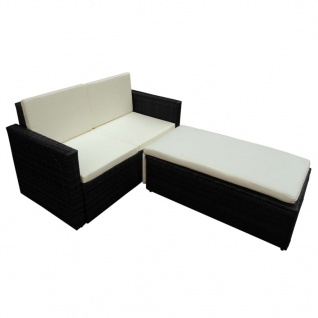 vidaXL 2-tlg. Garten-Lounge-Set mit Auflagen Poly Rattan Schwarz - Vorschau 3