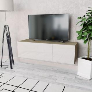 vidaXL TV-Schrank Spanplatte 120 x 40 x 34 cm Hochglanz-Weiß/Eiche