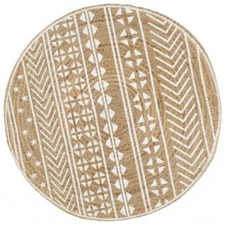 vidaXL Teppich Handgefertigt Jute mit weißem Aufdruck 150 cm