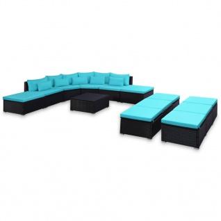 vidaXL 9-tlg. Garten-Sofagarnitur mit Kissen Blau Poly Rattan