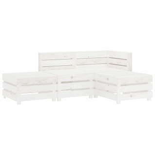 vidaXL 4-tlg. Garten-Lounge-Set aus Paletten Holz Weiß