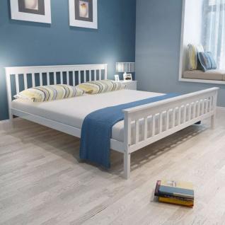vidaXL Doppelbett mit Memory-Matratze Eiche Massiv 180 x 200 cm Weiß