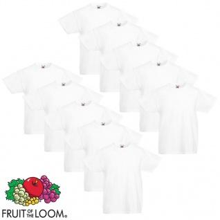 Fruit of the Loom Original Kinder T-Shirt 10 Stk. Weiß Gr. 152