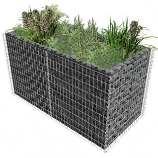 vidaXL Gabionen-Pflanzenkorb Stahl 180×90×100 cm Silbern
