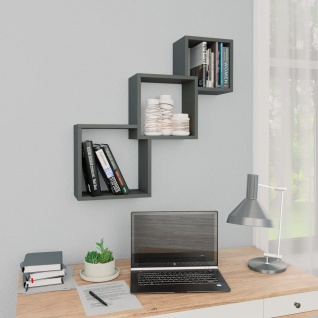 vidaXL Cube Wandregale Grau 84, 5ß15ß27 cm Spanplatte