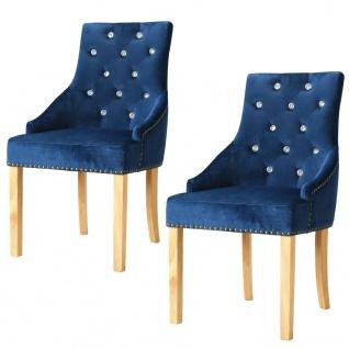 vidaXL Esszimmerstühle 2 Stk. Massive Eiche und Samt Blau - Vorschau 1