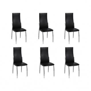 Esszimmer Stühle (6er Set) schwarz Chrom & Kunstleder