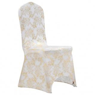 vidaXL 6 Stk. Stretch-Stuhlhussen Weiß mit Goldaufdruck