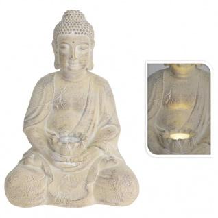 ProGarden Gartenfigur Buddha mit Solarleuchte Creme MGO