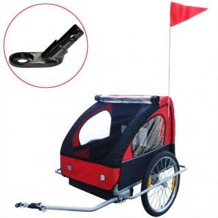 vidaXL Kinder Fahrradanhänger mit zusätzlicher Kupplung Rot 36 kg - Vorschau 1