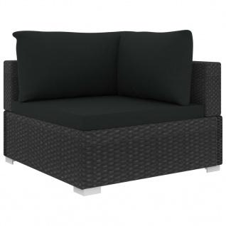 vidaXL 12-tlg. Garten-Lounge-Set mit Auflagen Poly Rattan Schwarz - Vorschau 4