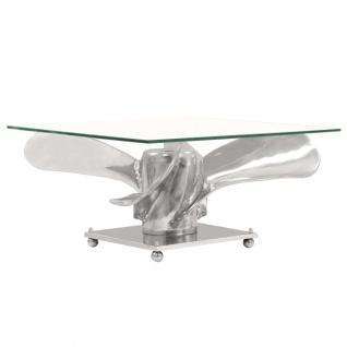 vidaXL Couchtisch Silbern 60x60x30 cm Aluminium und Gehärtetes Glas - Vorschau 3