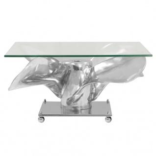 vidaXL Couchtisch Silbern 60x60x30 cm Aluminium und Gehärtetes Glas - Vorschau 2