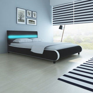 Bett mit LED-Leiste am Kopfteil + Matratze 140 cm