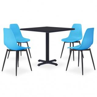 vidaXL 5-tlg. Garten-Essgruppe Metall und PP Blau