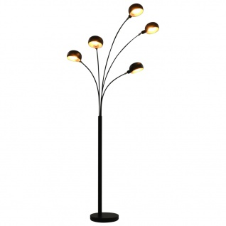 vidaXL Stehlampe 200 cm 5 x E14 Schwarz und Golden