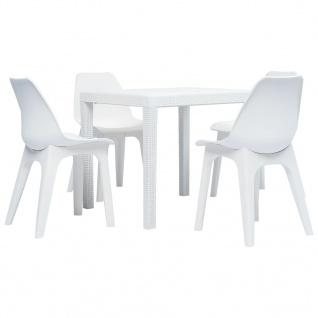 vidaXL 5-tlg. Garten-Essgruppe Weiß Kunststoff