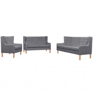 vidaXL Sofa-Set 3-tlg. Stoff Grau