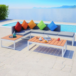 vidaXL 4-tlg. Garten-Lounge-Set mit Auflagen Aluminium und WPC