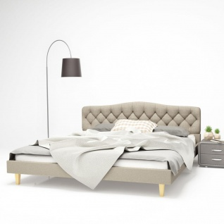 vidaXL Bett mit Memory-Schaum-Matratze 180 x 200 cm Stoff Beige