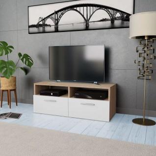 vidaXL TV-Schrank Spanplatte 95 x 35 x 36 cm Eiche und Weiß