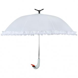 """Esschert Design Regenschirm mit Rüschen """" Swan"""" 99, 5 cm Weiß TP256"""