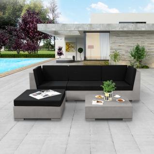 vidaXL 5-tlg. Garten-Lounge-Set mit Auflagen Beton Grau