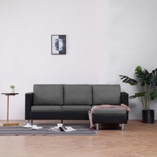 vidaXL 3-Sitzer-Sofa mit Kissen Schwarz Kunstleder