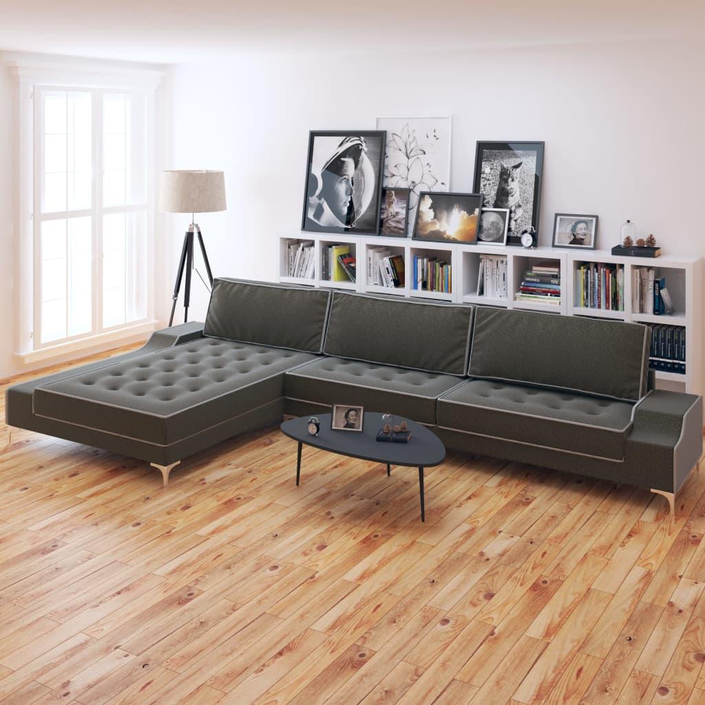 Vidaxl Sofa In L Form Retro Stoff Dunkelgrau Xxl 326 X 163 X 83 Cm Yatego Com