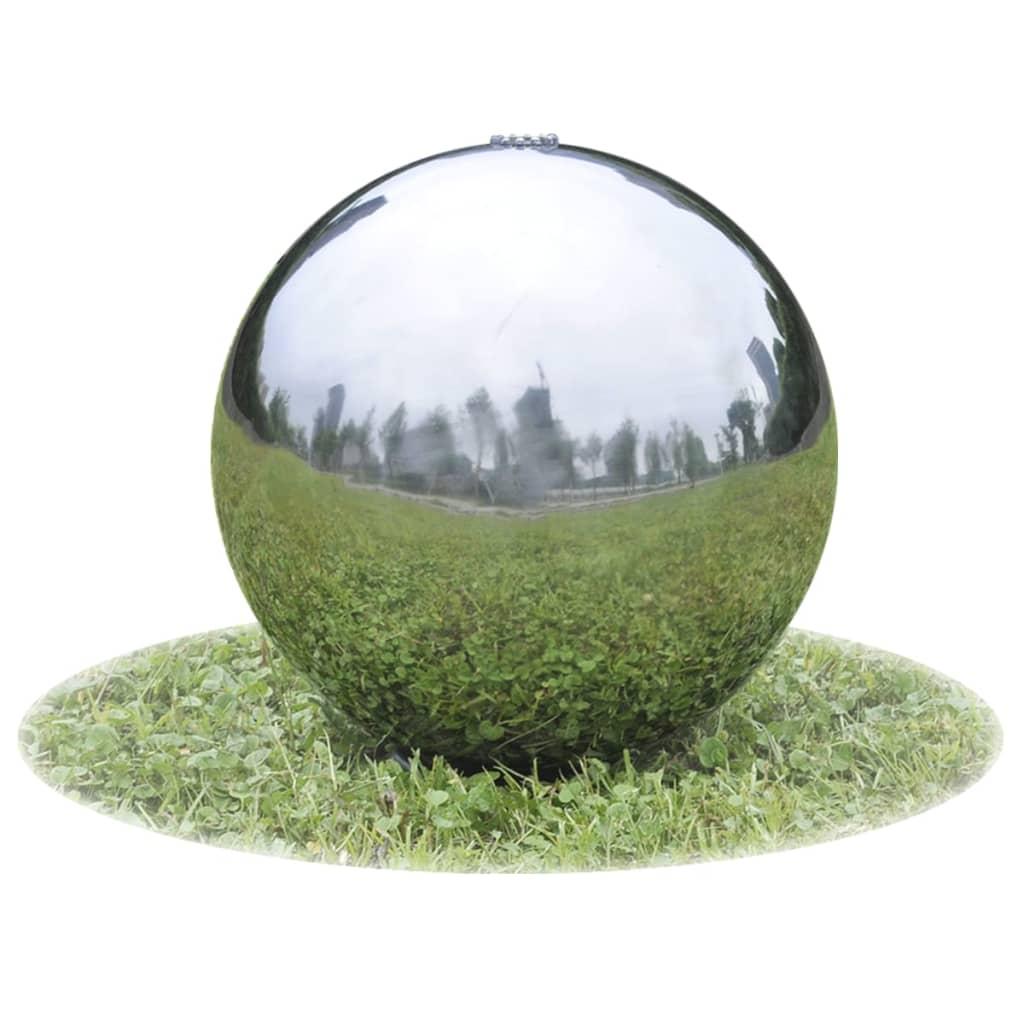 Garten-Springbrunnen Sphere mit LEDs Edelstahl 30 cm