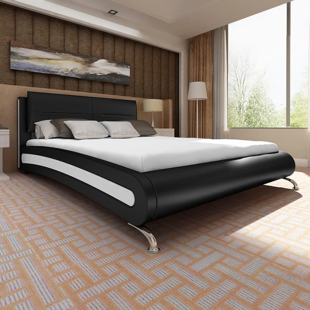 Vidaxl Bett Mit Matratze 140 200 Cm Kunstleder Schwarz Weiß Kaufen
