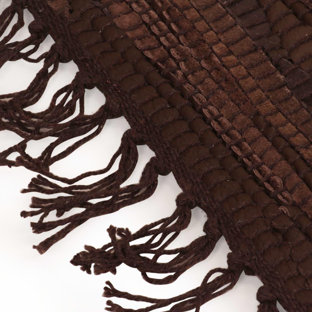 Vidaxl Handgewebter Chindi Teppich Leder 190x280 Cm Braun Kaufen