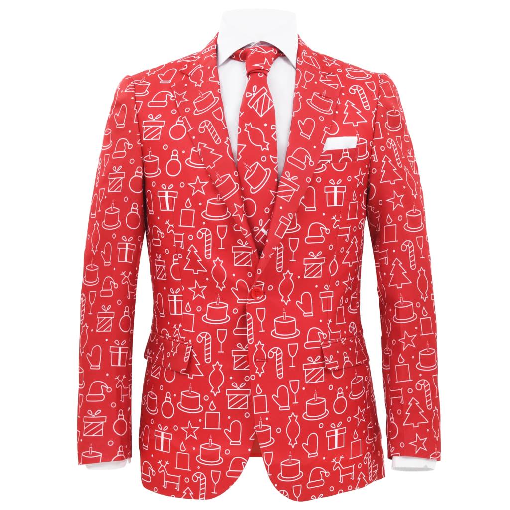 vidaXL 2 tlg. Herren Weihnachtsanzug mit Krawatte Gr. 56 Rot