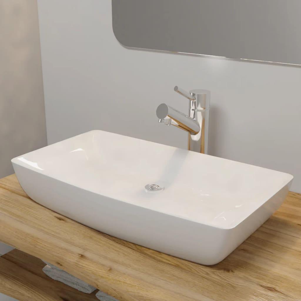 Keramik Waschtisch Waschbecken Rechteckig Weiss 71 X 39 Cm Kaufen