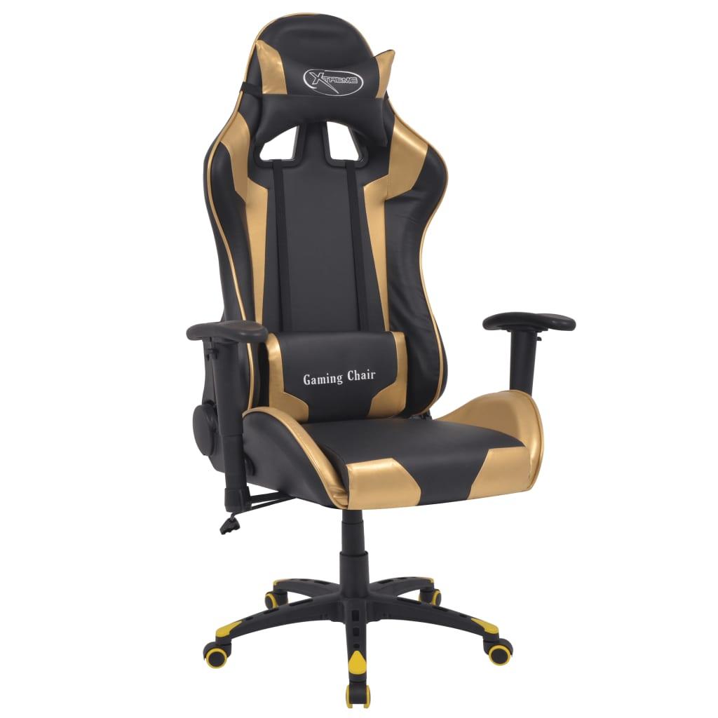 vidaXL Bürostuhl Gaming Stuhl Neigbar Kunstleder Gold