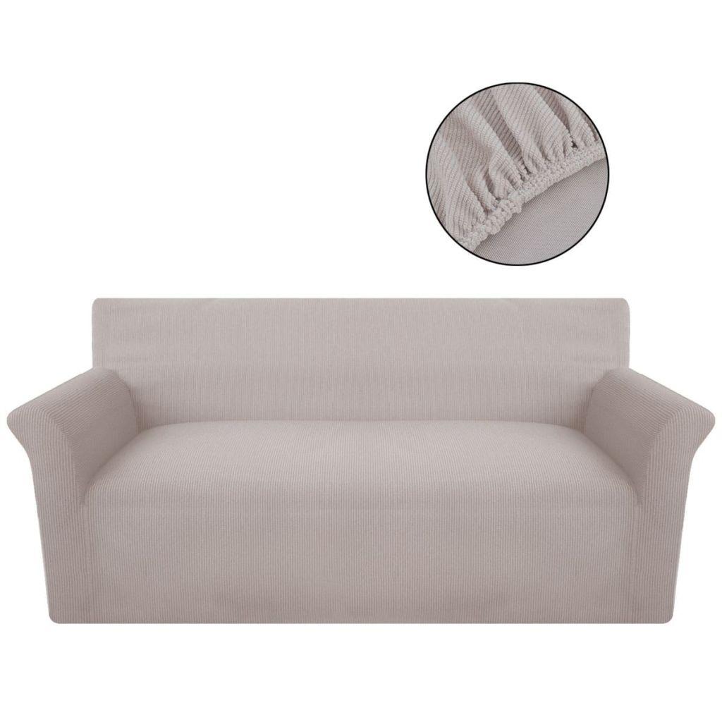 Sofahusse Sofabezug Stretchhusse Polyester Rippstrick Beige Kaufen