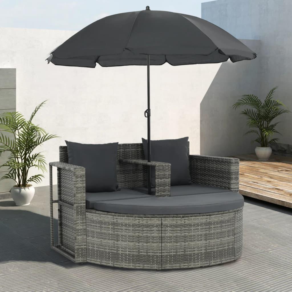 Extrem vidaXL 2-Sitzer-Gartensofa mit Auflagen und Sonnenschirm Grau Poly JG68