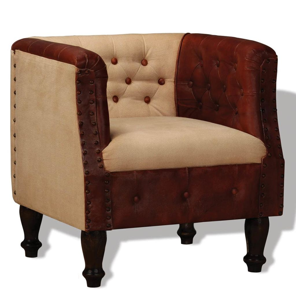 Außergewöhnlich Sessel Xl Dekoration Von Vidaxl Echtleder Und Stoff Braun Und Beige