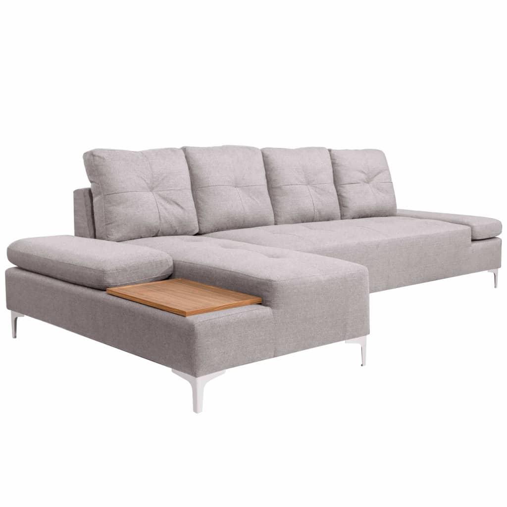 Vidaxl Sofa In L Form Mit Ablageflache Aus Holz Stoff Grau Xxl 300 Cm Yatego Com