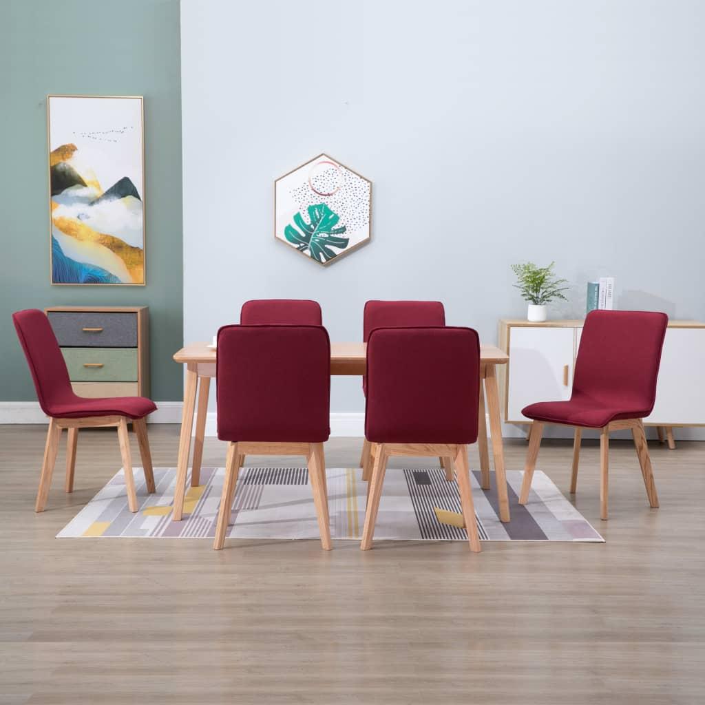 vidaXL Esszimmerstühle 6 Stk. Rot Stoff und Massivholz Eiche