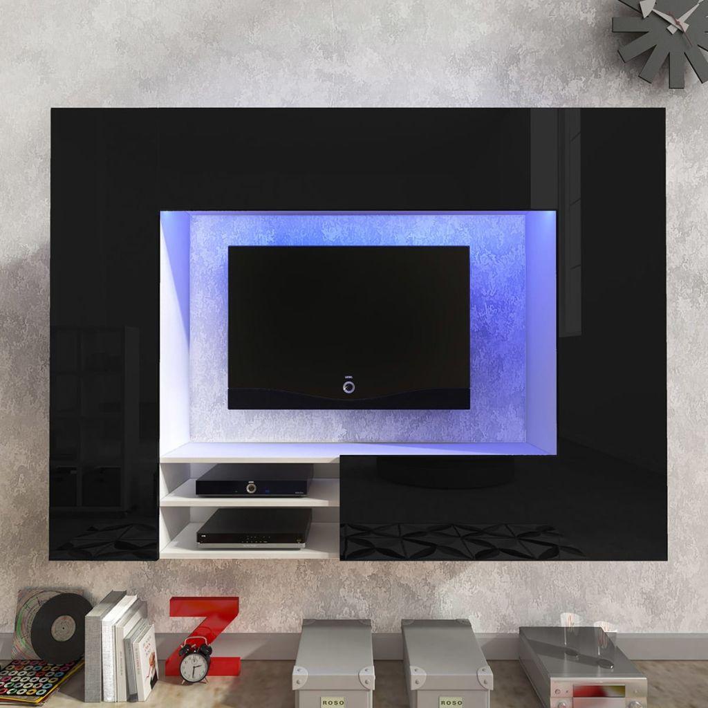 Hochglanz Mediawand Wohnwand Led Tv Wand Schwarz 169 2 Cm Kaufen