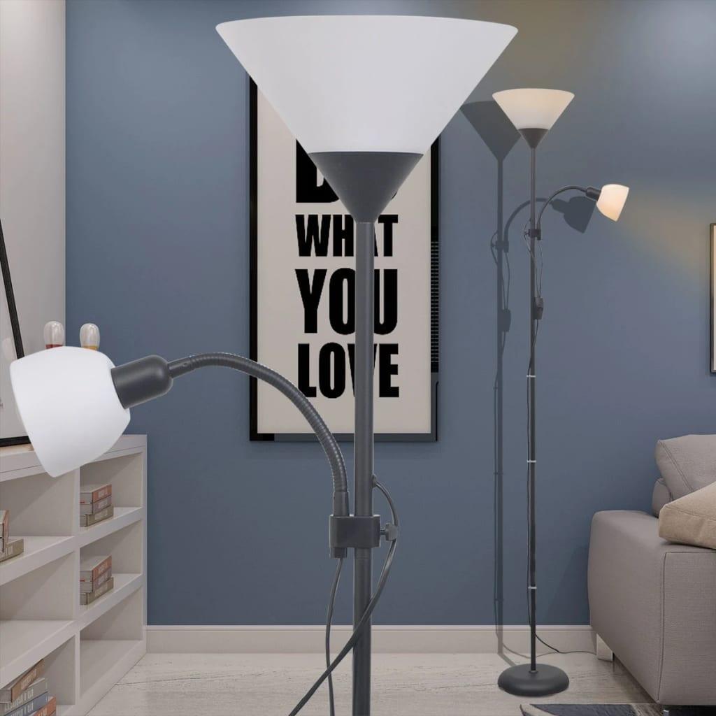 vidaXL Stehlampe Stehleuchte Wohnzimmerlampe Standleuchte Leuchte Weiß//Schwarz