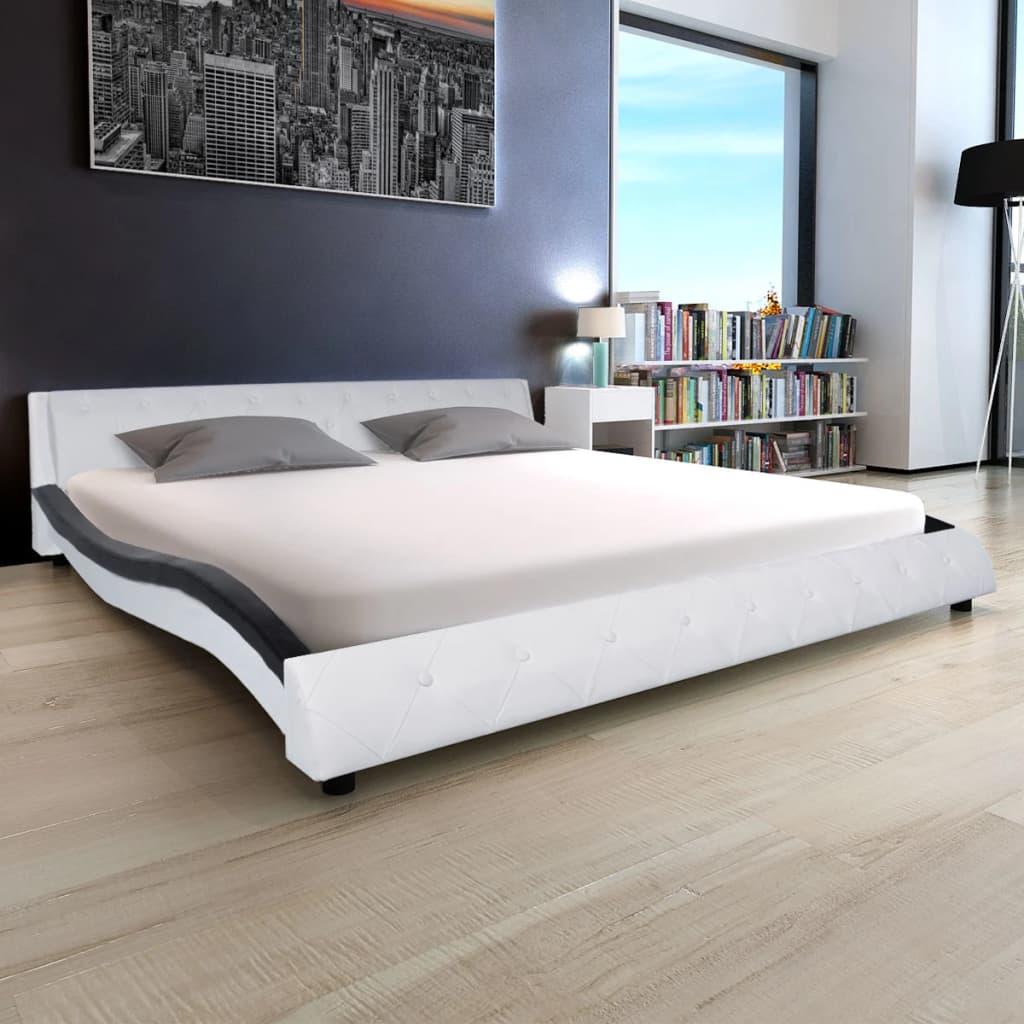 vidaXL Bett mit Matratze Kunstleder 180 x 200 cm Weiß und Schwarz ...