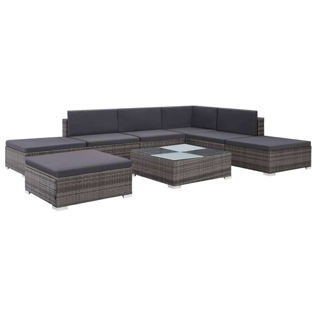 Berühmt vidaXL 8-tlg. Garten-Lounge-Set mit Auflagen Poly Rattan Grau HX31