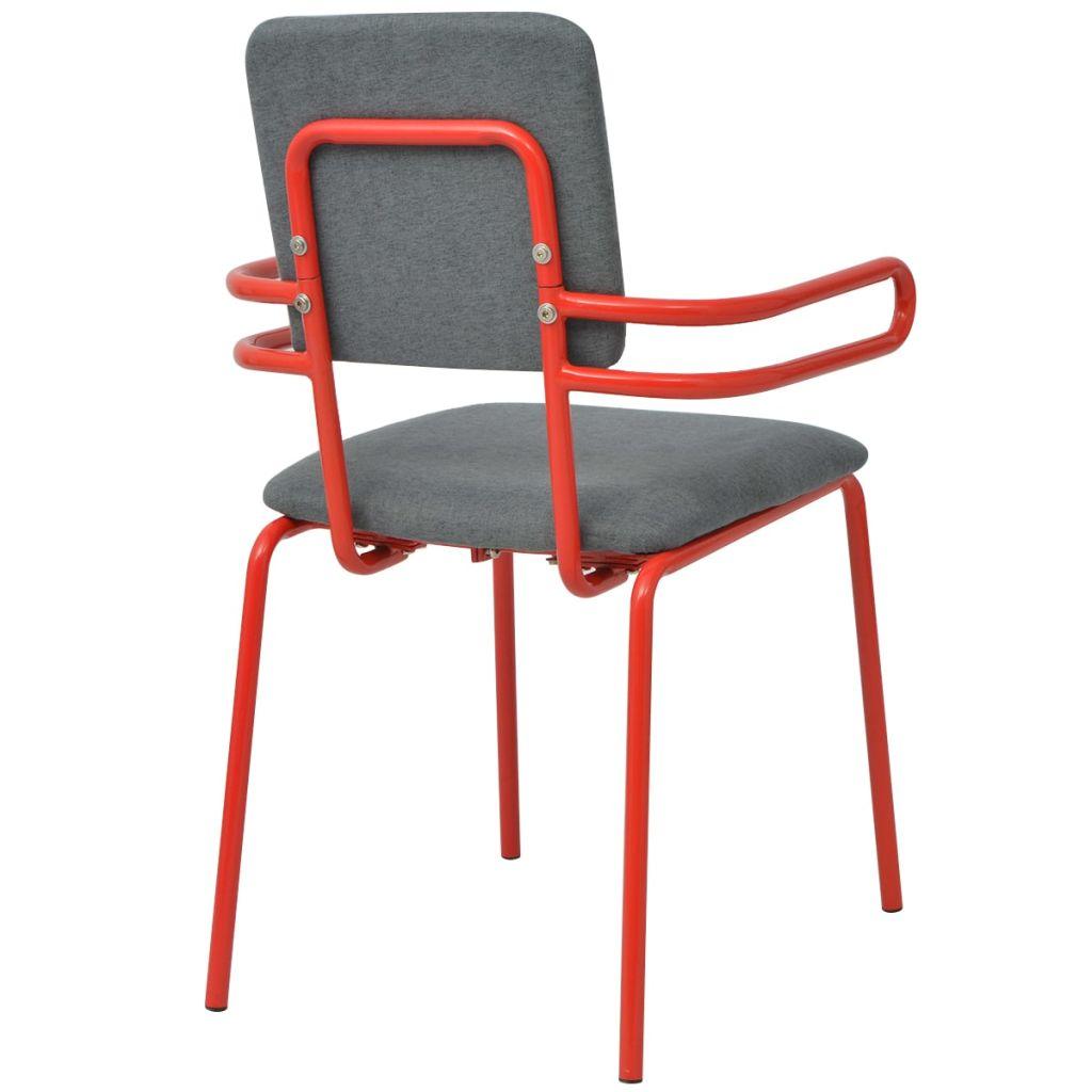 vidaXL Esszimmerstühle 6 Stk. Rot und Grau Stoff